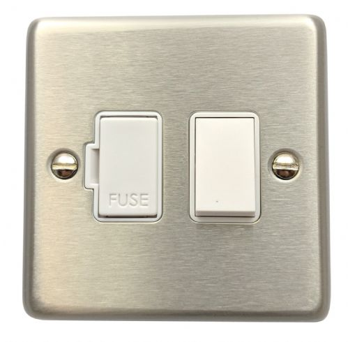 G&H CSS57W Standard Plate Brushed Steel 1 Gang Fused Spur 13A Switched